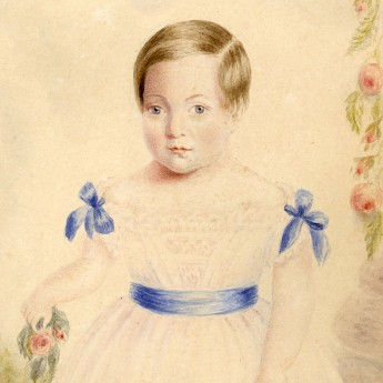 Watercolour portrait of a 3-year old child in a garden