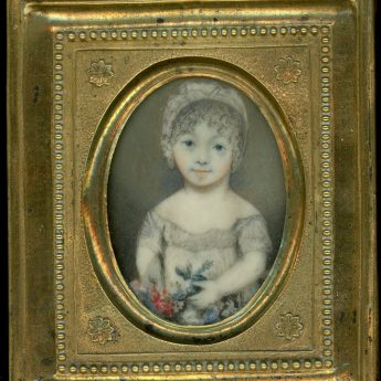 Miniature portrait of a child with colourful flowers