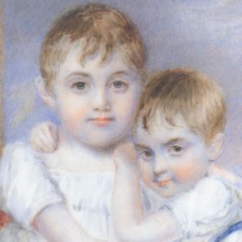 Miniature portrait of two siblings, early 19th century