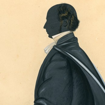 Cut and painted full-length silhouette of an academic gentleman by Merryweather