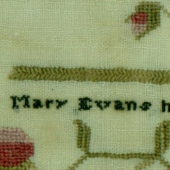 Welsh School Sampler stitched by Mary Evans in 1812