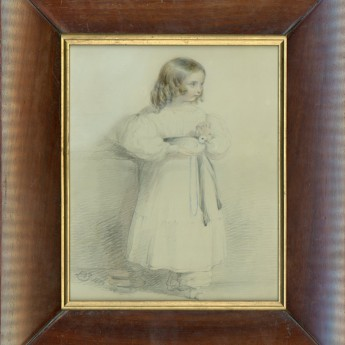 Portrait of a child holding a dove drawn by Henry Bryan Ziegler