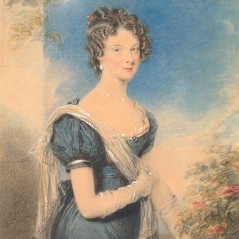 Watercolour portrait of a Regency lady