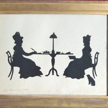 Silhouette conversation piece of two ladies cut by Augustin Edouart in 1828