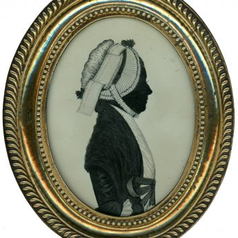 Painted silhouette by W. Clarke - one of a pair
