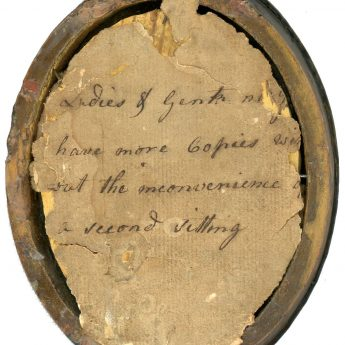 Hand-written label on a painted silhouette by W. Clarke