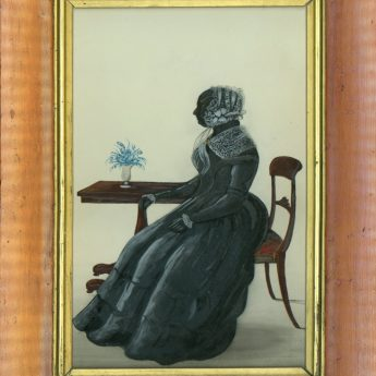 Painted silhouette with gilding and colour highlights of a lady