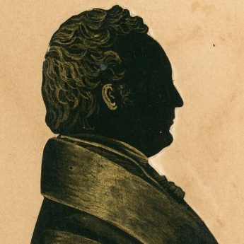 Cut and bronzed silhouette of Dr Drake by G. Cryer