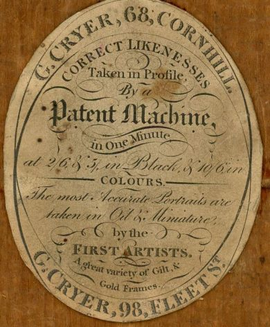 Trade label for G. Cryer, silhouettist