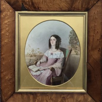 Signed watercolour portrait of Esther Bonnell dated 1843