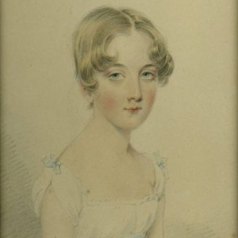 Pastel portrait of a young girl by Josiah Slater, 1813