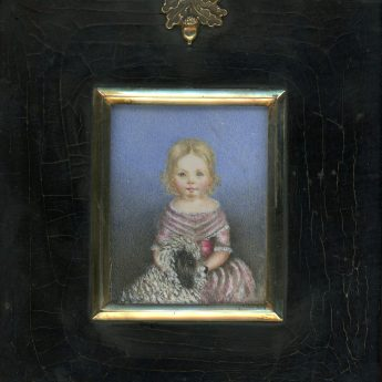 Miniature portrait of Maria Griffiths with her dog, Toby
