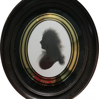 Silhouette of Lady Teignmouth painted on plaster by John Miers