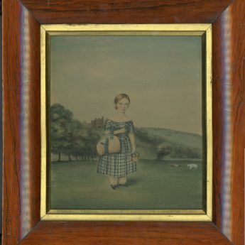 Watercolour portrait of a girl in a plaid dress painted in 1845 by J. Wood of Alnwick