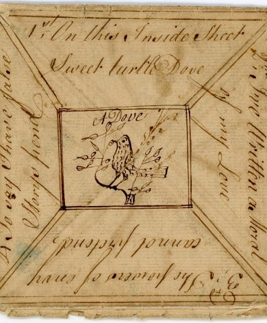 18th century pen and ink Valentine puzzle purse