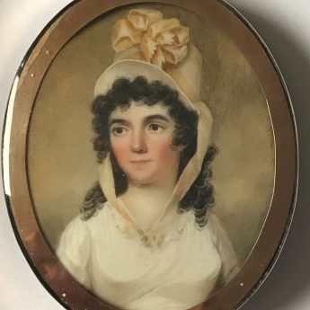 Miniature portrait of a young lady in a white dress and straw hat