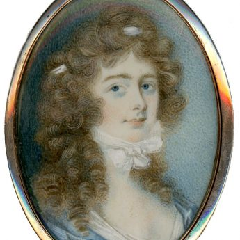 Miniature portrait of a young Georgian lady with long brown curls
