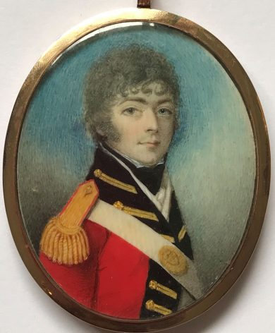 Mrs Anne Mee attrib., miniature portrait of an officer