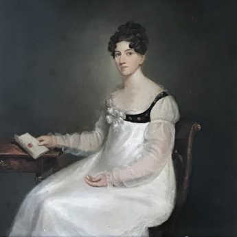 Oil on board portrait of a young Regency lady