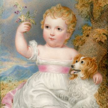 Miniature portrait of a child in a garden landscape with an adoring spaniel
