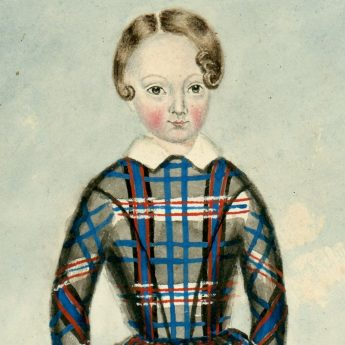 Watercolour portrait of a child in a checked dress