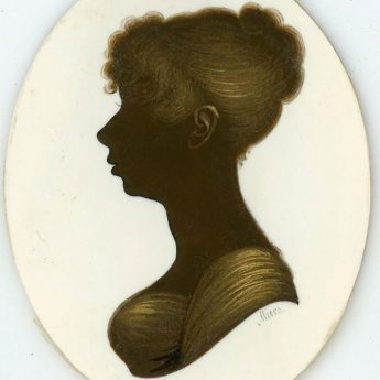 Bronzed profile on ivory of a young Regency lady painted by John Field