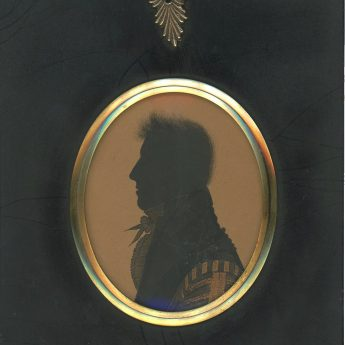 Painted silhouette of a Cambridge graduate painted by Richard Bankes Harraden