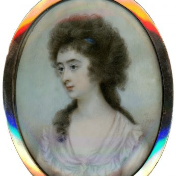 Signed miniature portrait of a young lady painted by Horace Hone in 1790