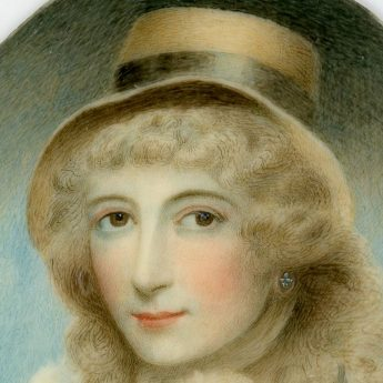 Miniature portrait of a young lady in a straw bonnet painted by Andrew Plimer