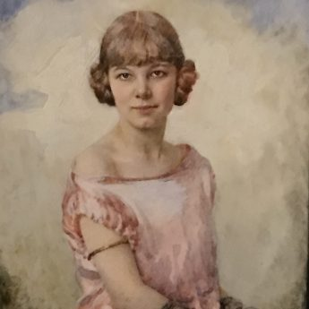 Miniature portrait Ailsa Matthews painted by Nellie Hepburn Edmunds