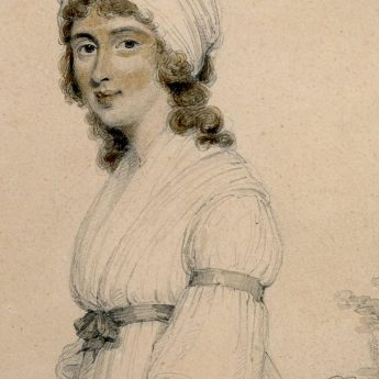 Full-length pencil with watercolour portrait of a lady drawn by Henry Edridge and dated 1796