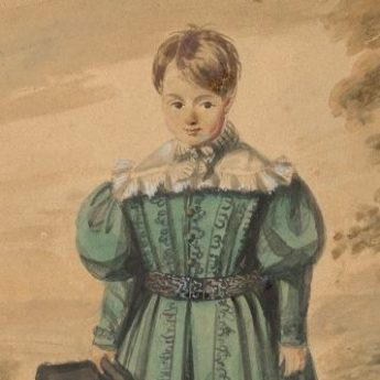 Watercolour portrait of a young boy in a green tunic