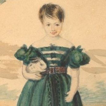 Watercolour portrait of a girl in a green dress holding a rabbit
