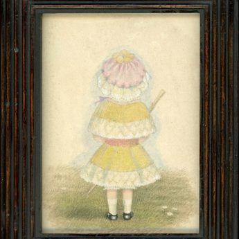 "Charming watercolour portrait of a little girl attributed to Mrs Young ""who couldn't paint faces""!"