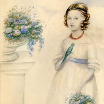 A pair of watercolour portraits of Mary and Jessie Herring, aged nine and ten