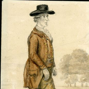 Watercolour portrait of 18th century pedestrian Foster Powell