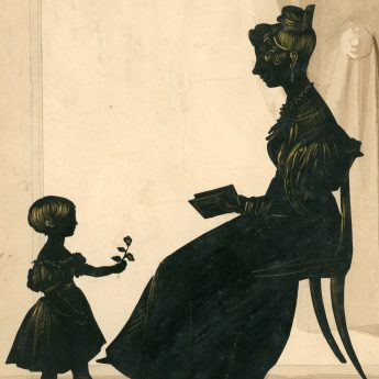 Cut and gilded silhouette portrait of a mother and her young daughter