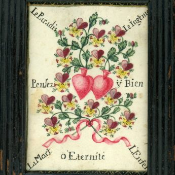 Small watercolour love token inscribed in French