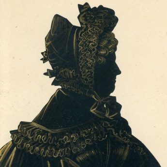 Cut and gilded silhouette of a mature lady; gallery trade label no. 5