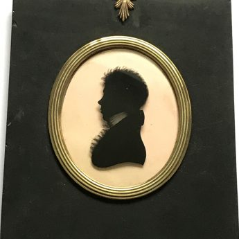 Early 19th century silhouette reverse painted on glass by William Rought