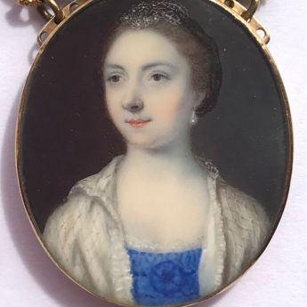 Miniature portrait of a lady by John Smart, signed and dated 1761