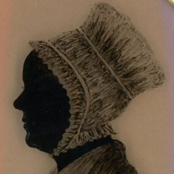 Silhouette reverse painted on convex glass by an unrecorded artist