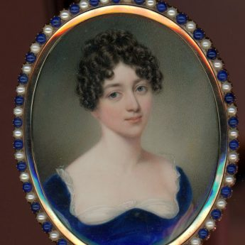 Miniature portrait of a young lady painted by John Cox Dillman Engleheart, signed and dated 1815