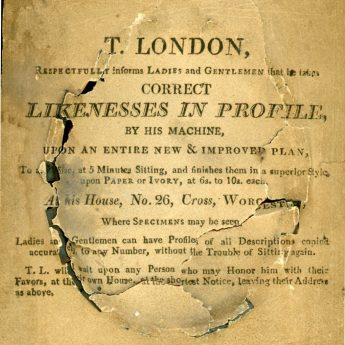Trade label on the reverse of a silhouette by T. London