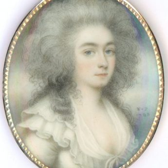 Signed miniature portrait of a lady by Nathaniel Plimer dated 1788