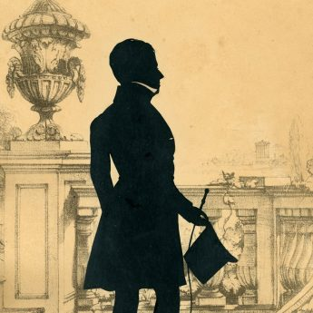 Full-length silhouette of a gentleman by the renowned cutter, Augustin Edouart, signed and dated 1836