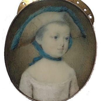 Georgian miniature portrait of a child wearing a large hat