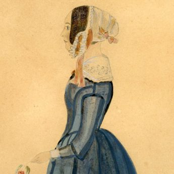 Full-length watercolour profile of a young lady, Anne Wellington
