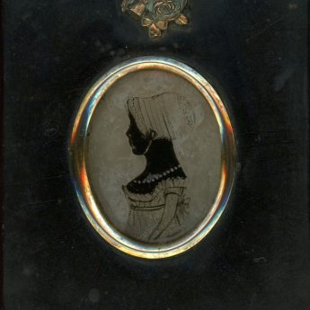 Charming silhouette of a child reverse painted on glass and backed with wax