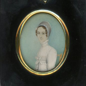 Charming naive miniature portrait of a lady seated